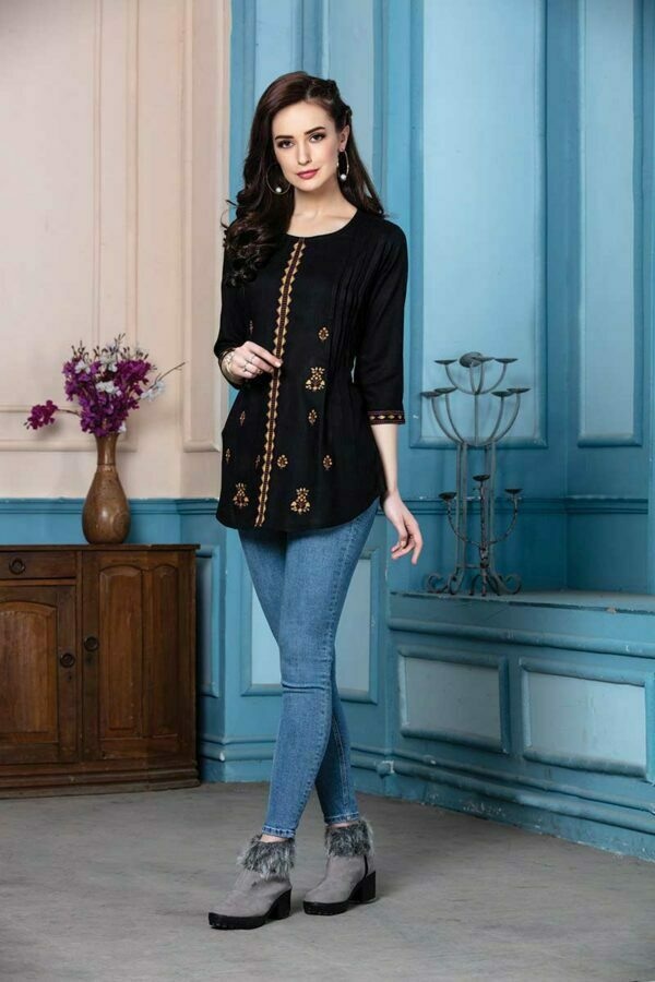 Black Rayon Embroidered traditional Top