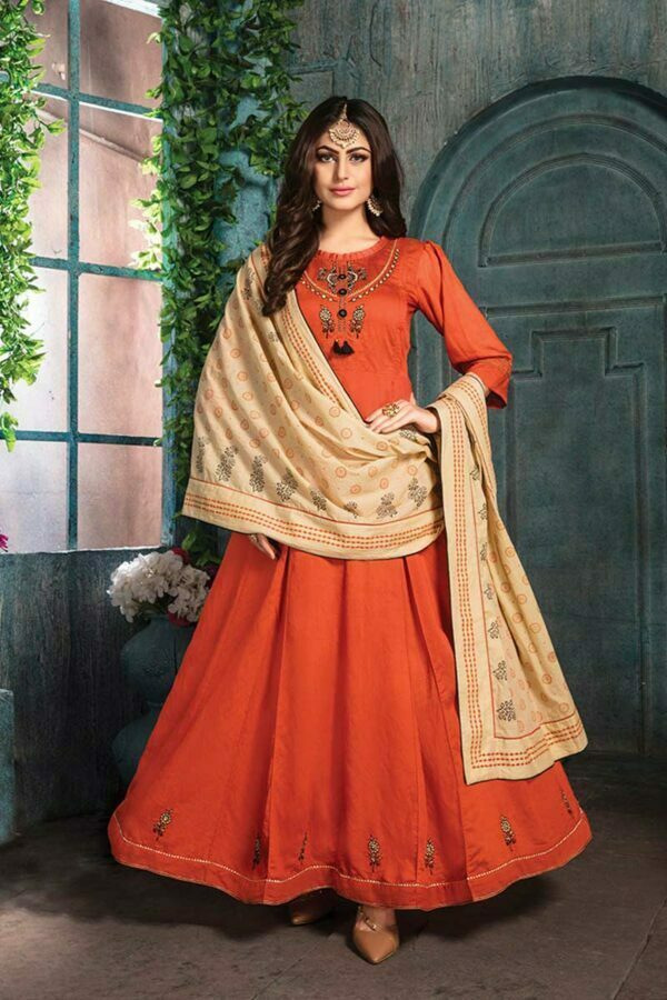 Orange embroidered kurti with Block print Dupatta | Zumkha Vol 2