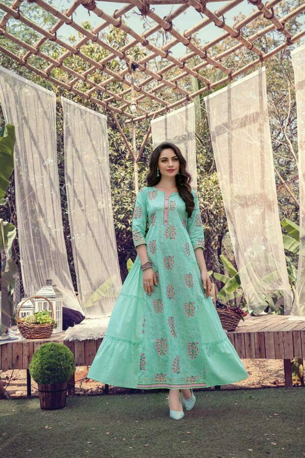 Mint Green Cotton Frock Style long Kurti design with Mask