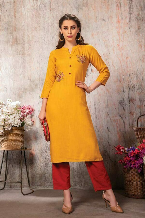 Mustard Yellow Embroidered Straight traditional Kurti | Kanisha