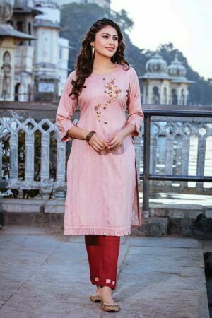 Pink & Maroon Emboidered rayon Kurti Set | Soulmate