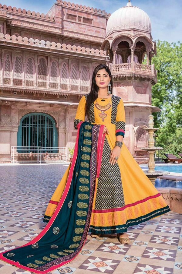 Yellow & Green Heavy Loan Cotton long anarkali Kurti with Dupatta | Ghoomar Vol 2
