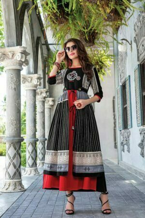 Black & Red Embroidered Kurti | Zara
