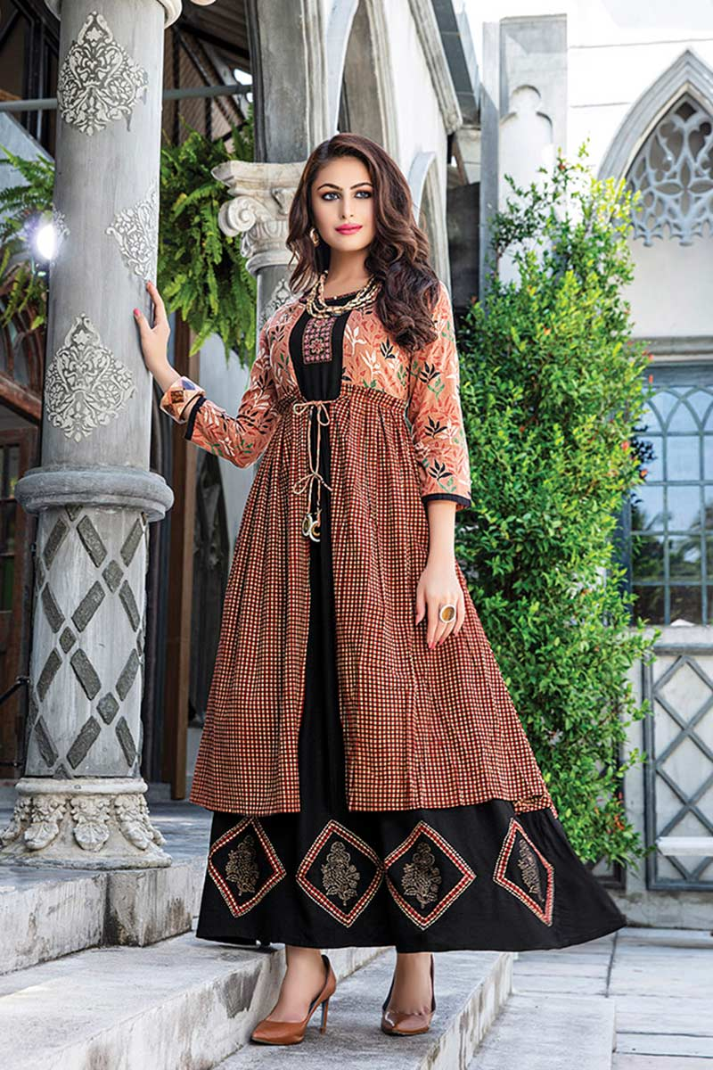 Black & Brown Embroidered Jacket Style Kurti |Buy Kurti Online | Zara