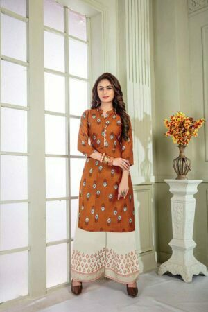 Rust Orange Printed Kurti with Palazzo | Floral Embroidery designs| Opera Vol 3