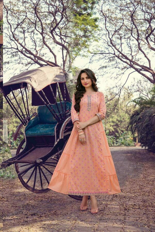 Peach Cotton Frock Style Long Kurti for Women with Mask