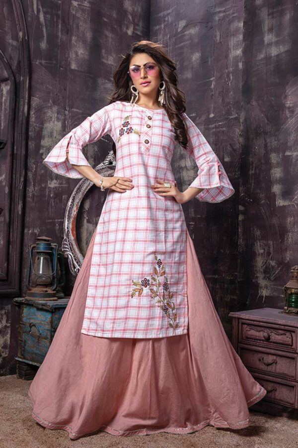 2 Piece Checked Embroidered Kurti with Pink Skirt | Fusion Flavour