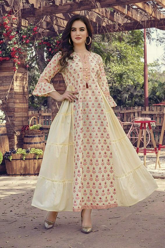 Cream Cotton Frock Style designer long Kurti with Mask