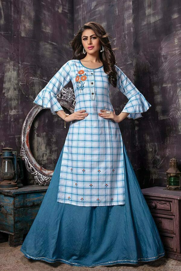 2 Piece Checked Embroidery Kurti with Skirt | Fusion Flavour