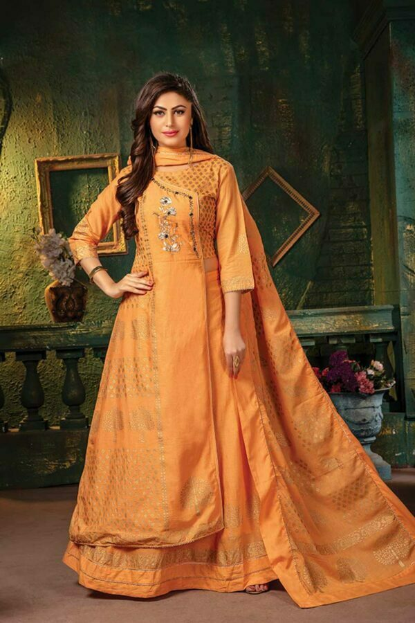 Orange 3 Piece Anarkali Suit with Gold Foil Print | Ladli