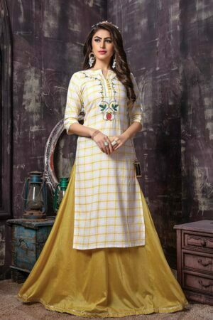 2 Piece Checked Embroidery Kurti with long Skirt | Fusion Flavour