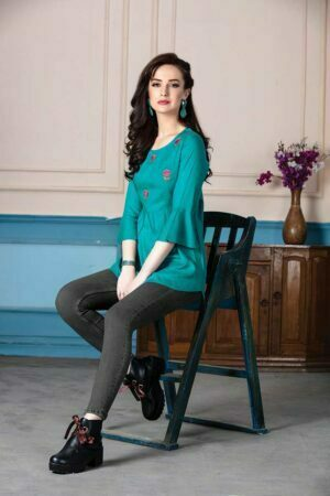 Turquoise Blue Rayon Embroidered Western short Top