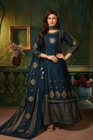 Navy Blue frill sleeves Anarkali Suit with Gold Foil Print | Ladli