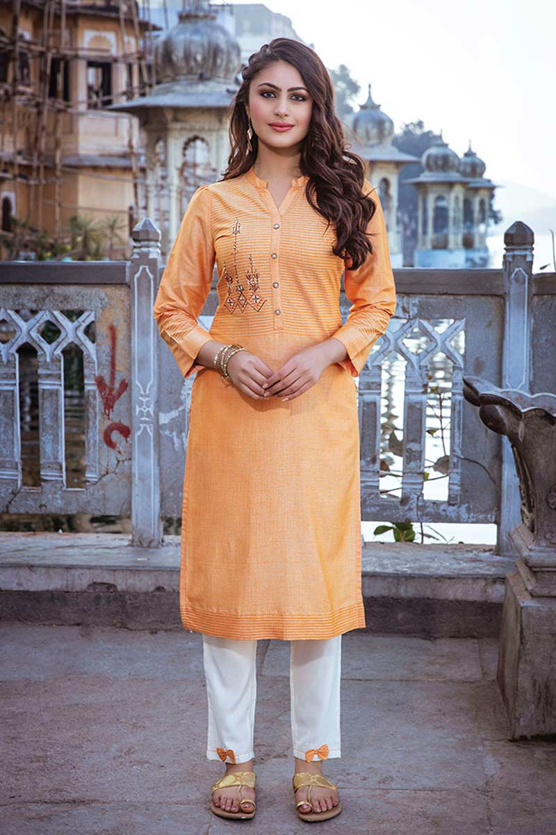 Light Orange Emboidered Kurti with pants | Soulmate