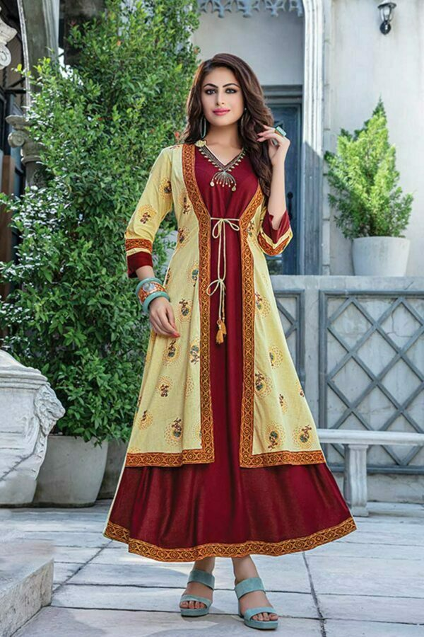 Maroon Kurti with Printed Light Yellow Jacket style kurti | Zara