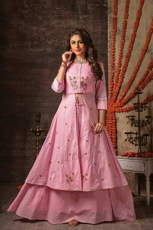 Pink 3 Piece Embroidered Jacket Style Readymade Dress