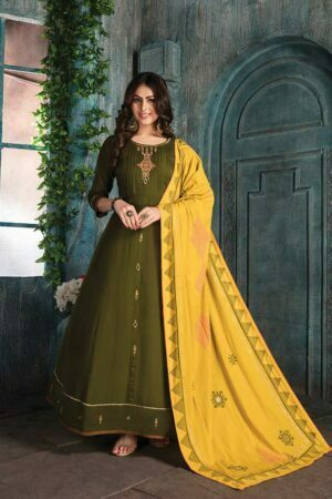 Mehendi Green Chanderi Suit with Block print Dupatta | buy kurti online