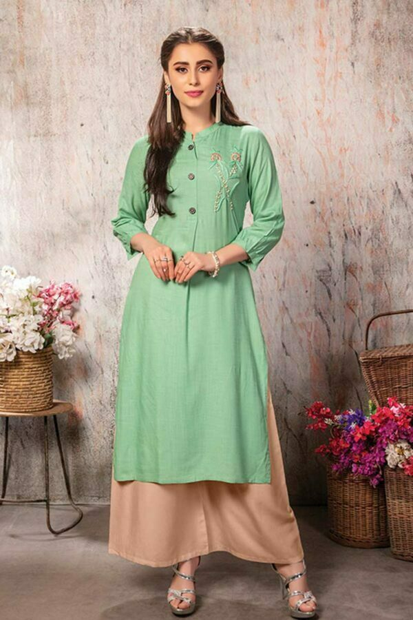 Pastel Green Embroidered Straight Kurti | Kanisha