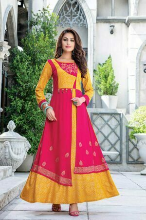 Pink & Yellow Embroidered kurti with Jacket Style | Zara