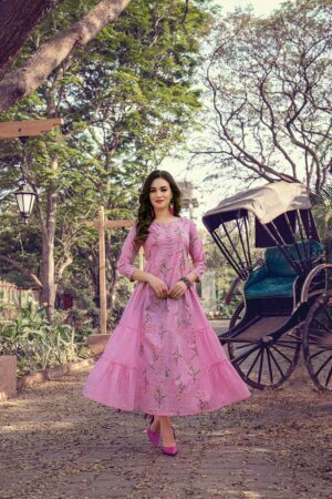 Pink Cotton long Kurti with Mask