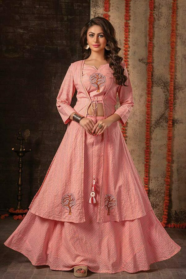 Blush Pink 3 Piece Embroidered Jacket Style Designer Dress