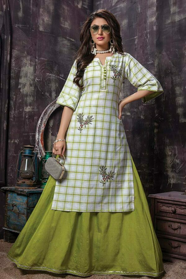 2 Piece Checked Embroidery Kurti with Green Skirt | Fusion Flavour | Buy Kurti Online