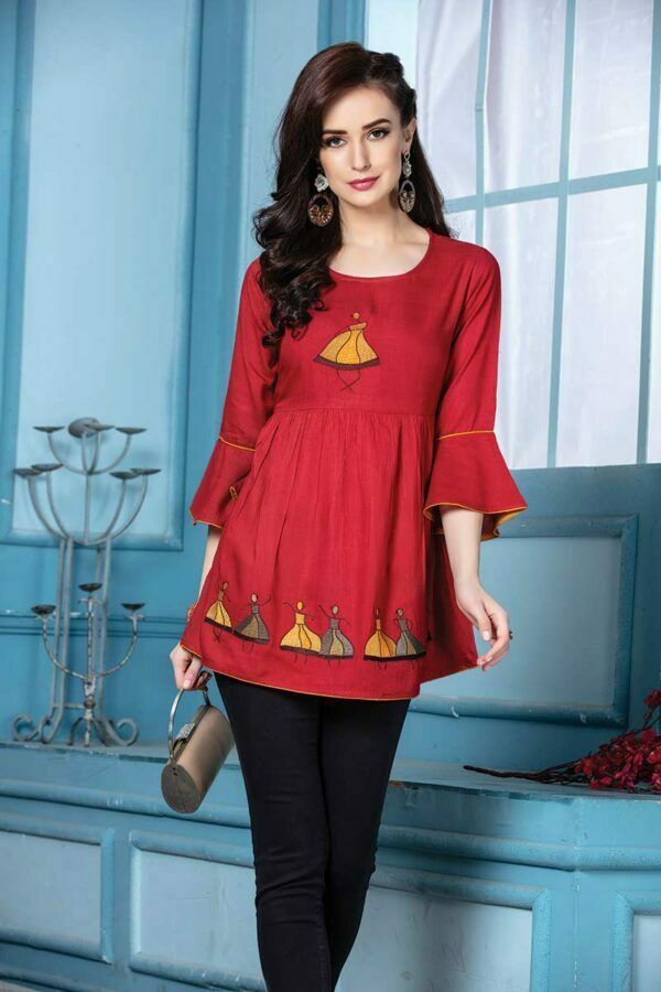 Red Rayon Embroidered Western Top