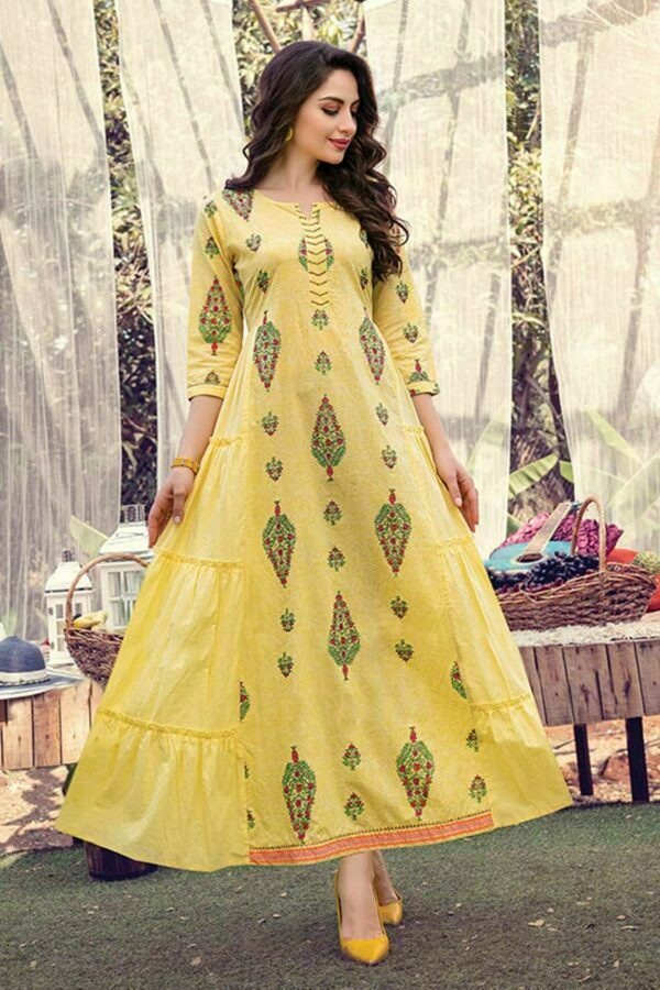 Yellow Cotton Frock Style Kurti dress for women with Mask