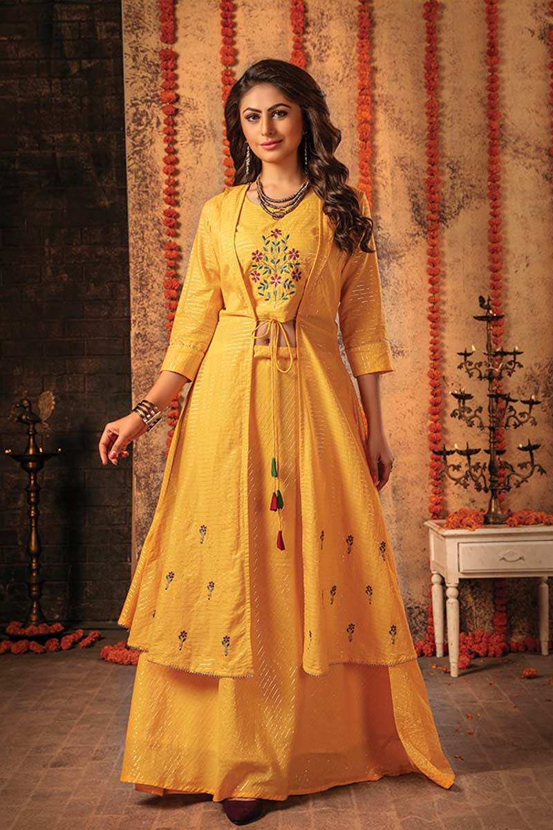 Yellow 3 Piece Embroidered Jacket Style Dress