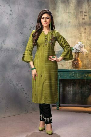 Olive Green Embroidered straight Kurti with Pants