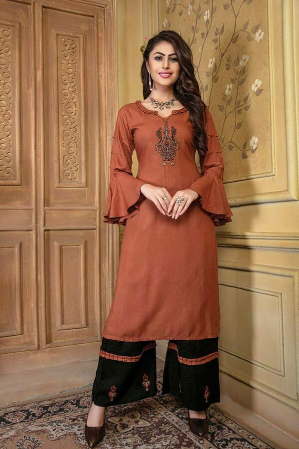 Rust Orange Embroidered Kurti with Palazzo
