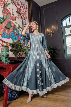 Grey Cotton Ikkat Floor Length long Kurti for women