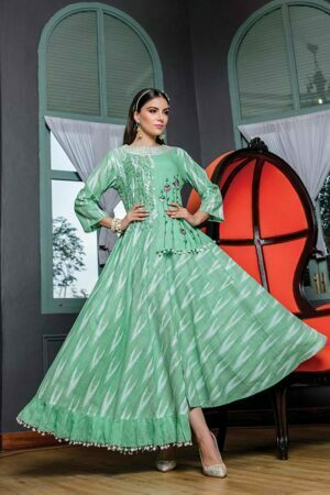 Pastel Green Cotton Long designer Kurti