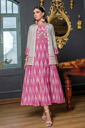 Baby Pink Cotton Ikkat Floor Length Kurti | Buy Kurti Online