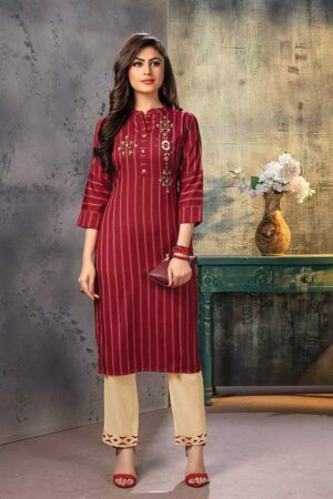 Maroon Embroidered striped Kurti with Pants