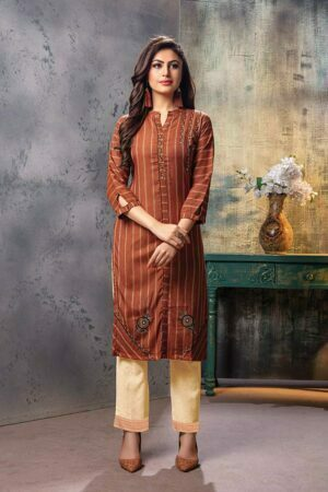 Brown Embroidered fancy Kurti with Pants