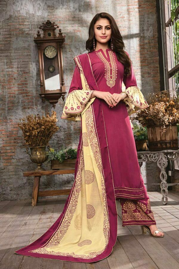Dark Pink 3 piece embroidered traditional dress