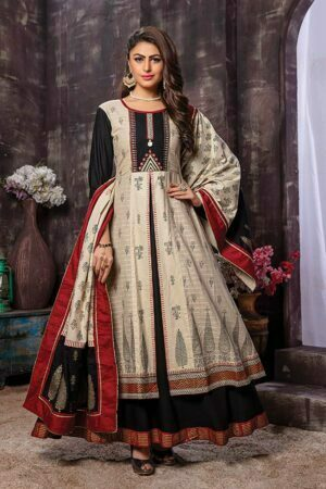 White & Black Rayon Embroidered Kurti with Printed Dupatta