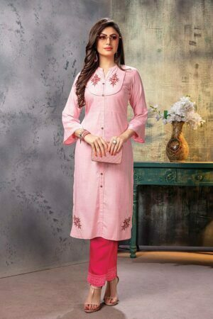 Baby Pink Embroidered Kurti with Pants