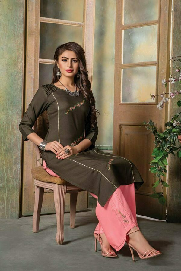 Brown Embroidered Kurti with Palazzo