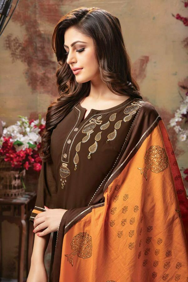 Brown 3 piece embroidered readymade dress