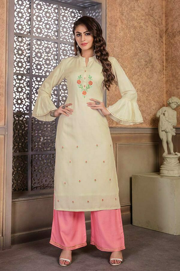 Cream Rayon straight kurti with Palazzo