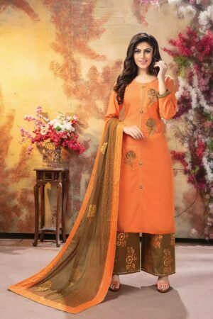 Carrot 3 piece embroidered kurti with palazzo and dupatta