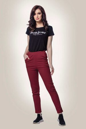maroon cotton lycra pants for women