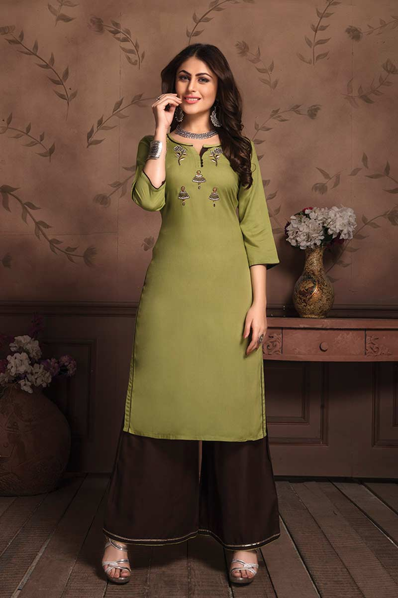 Olive Green Embroidered Kurti with Palazzo