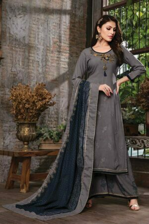 Dark Grey 3 piece embroidered kurti with palazzo and dupatta