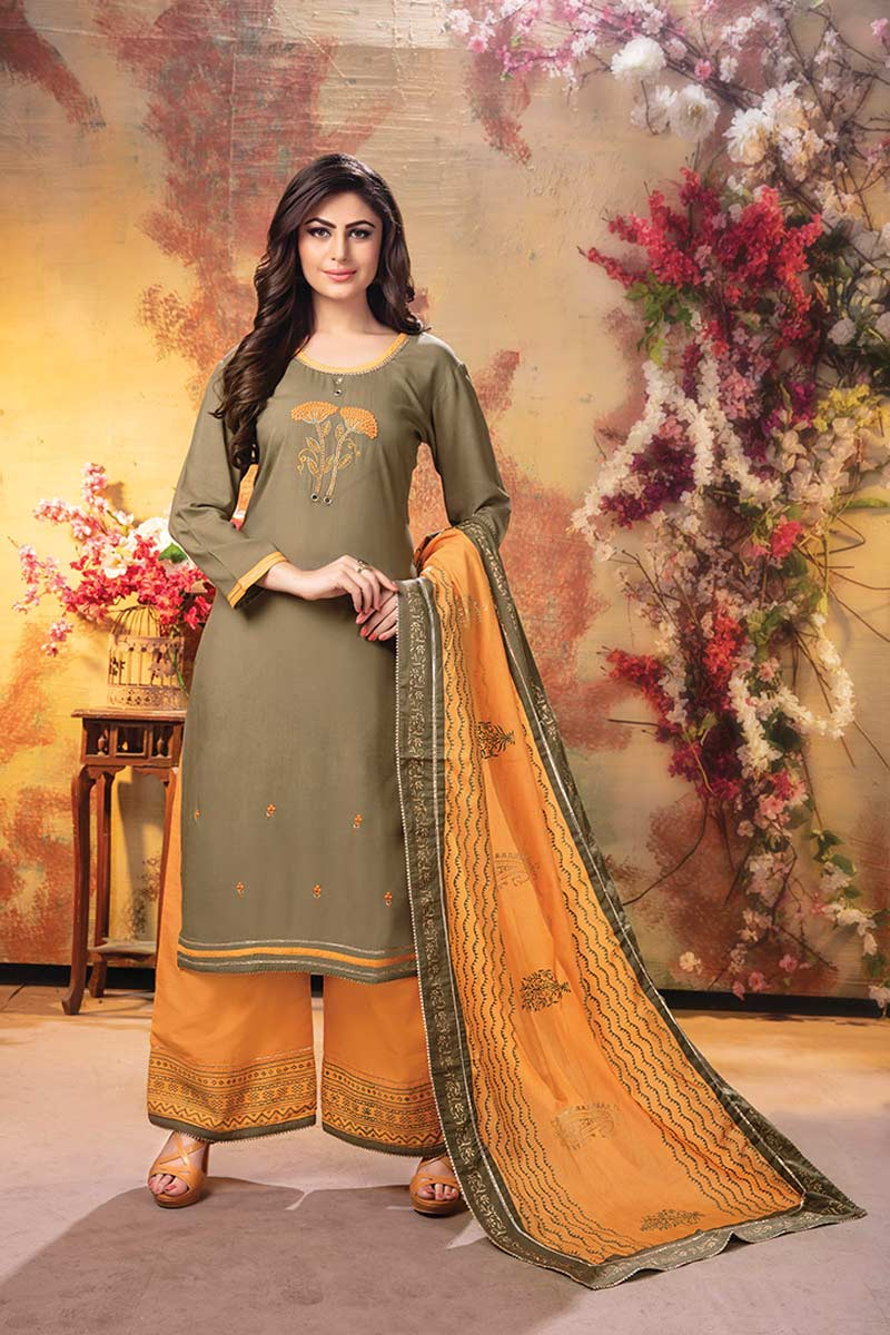 Grey 3 piece embroidered kurti with palazzo and dupatta