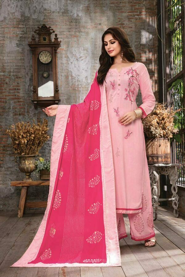 Pastel Pink 3 piece embroidered kurti with palazzo and dupatta