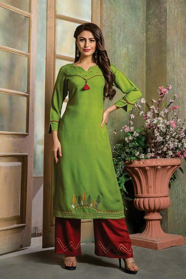 Green Embroidered Kurti with Palazzo