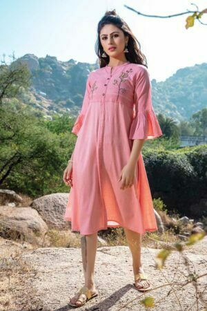 Pink Embroidered Stylish Kurti Dress